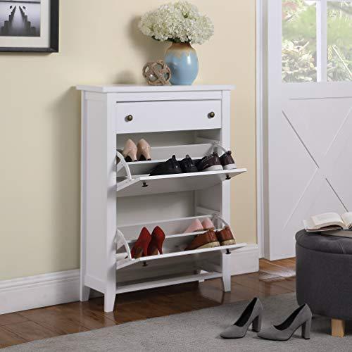 TMEE - Zapatero moderno de madera de 2 niveles con 1 cajón y tiradores de metal, color blanco para el hogar, porche, entrada