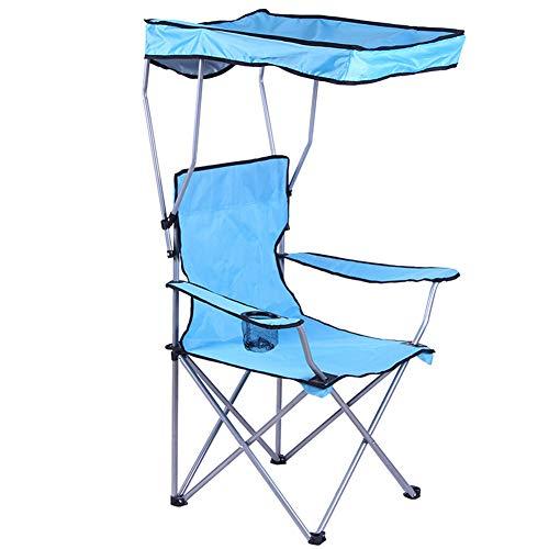 YIDPU Silla de Camping Plegable,con Sombrilla Bolsa de Almacenamiento Lateral Cómodo y Transpirable,Apto para Pesca Salvaje Turismo Costero Acampando Jardín