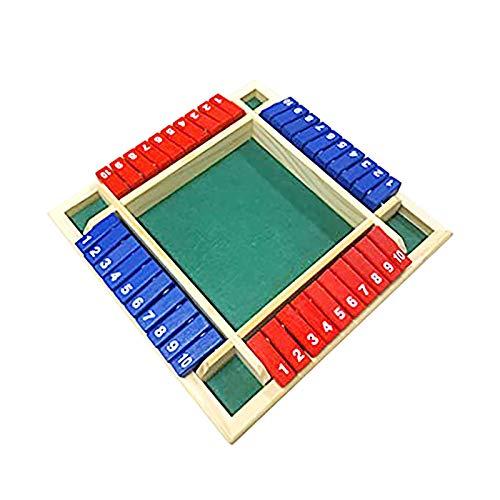 Wyongtao Juego de mesa de 4 personas, juegos de beber, de madera, Shut The Box Wooden Mathematic Traditional Pub Board Dice Game, dados para fiestas, bares, 4 jugadores con familia