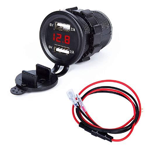 huhan Cargador de coche, 3.0 Dual Usb Cargador Socket, Voltímetro LED Digital y Fusible, Con Cubierta de Polvo Adecuado para Coche/Moto/Barco/Camión