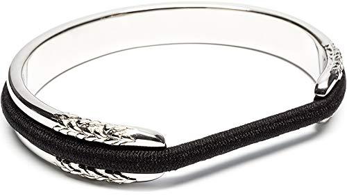 Hair Tie Bracelet - Flower Design by Maria Shireen - Steel Silver - Medium