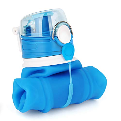 Valourgo 35 oz Collapsible Water Bottle, Large bpa Free Travel Water Bottle Reusable Water Bottle(Blue)