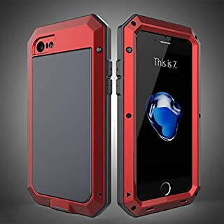 Luxury Doom Armor Duty Shock DustProof Life-Waterproof Anti-Falling Metal Aluminum Phone Cases for iPhone 5S 6 6S XR 7 8 X SE XS MAX Plus Cover (Red, for iPhone Xs MAX)