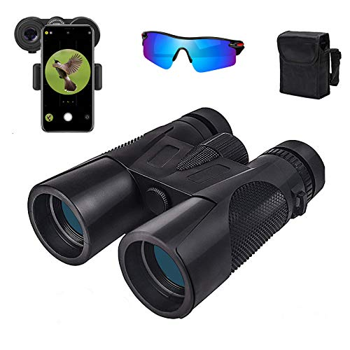 12X42 Binoculars for Adults with Weak Light Vision Powerful Binoculars for Bird Watching BAK4 Prism Hunting Binoculars for Sightseeing Sports Games and Concerts (Sunglasses Included)