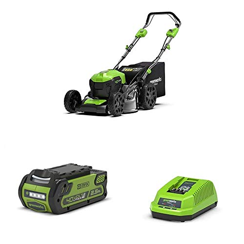 Greenworks GD40LM46SP Cortacésped con Batería + Batería G40B25 + Cargador de baterías