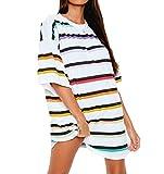 SLYZ Blusa De Vestir De Camiseta De Color A Rayas Casual Suelta De Verano para Damas Europeas Y Americanas