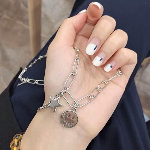 Collar Collar De Borla De Cadena con Cara Sonriente De Estrella De Plata De Ley 925 para Mujer, Collares De Joyería Hechos A Mano Vintage