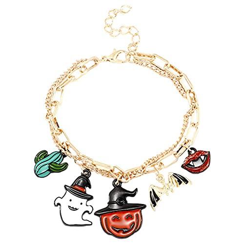 AIVILLE 1 pulsera de aleación temática de Halloween, colgante de aceite de gota para mujer, cadena de 23,5 x 1,2 x 0,5 cm