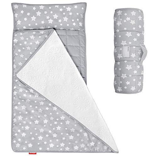 Moonsea Toddler Nap Mat with Removable Pillow and Fleece Minky Blanket, Lightweight and Soft Perfect for Kids Preschool, Daycare, Travel Sleeping Bag Boys and Girls, Designed to Fit on a Standard Cot