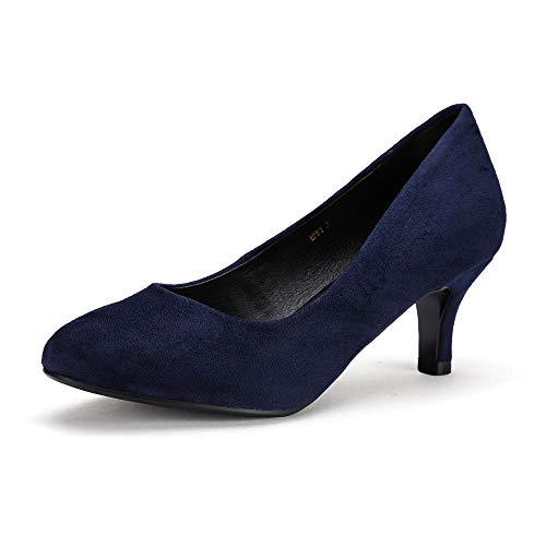 IDIFU Women's Classic Low Heels Dress Pumps 2 Inch Kitten Heel Round Toe Office Wedding Shoes (Blue Suede, 7 B(M) US)