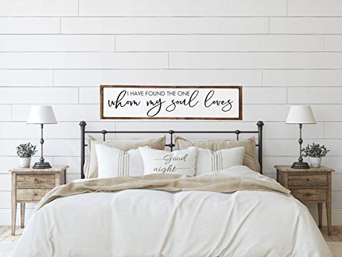 Wood Framed Sign 6x20'' Bible Verse Printable Wooden Prints Bedroom Wall Decor I Have Found The One Whom My Soul Loves Above The Bed Sign Over The Bed Sign Master Bedroom Wall Decor Farmhouse
