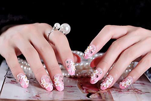 Sweet flowers White lace Manicure products Bride nail patch 24 piece boxed wholesale AL173-AL173 glue -  meijiago, jhgji2787
