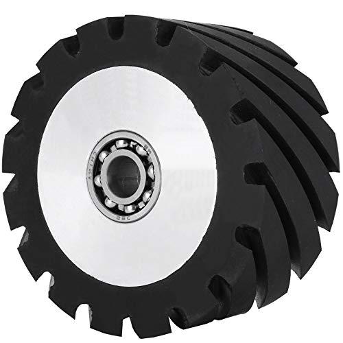 "Happybuy 4""x2"" Belt Grinder Rubber Wheel,Serrated Rubber Contact Wheel Bearing Model 6006, Bearing Belt Grinder Wheel Compact & Lightweight for Knife Making Grinder"