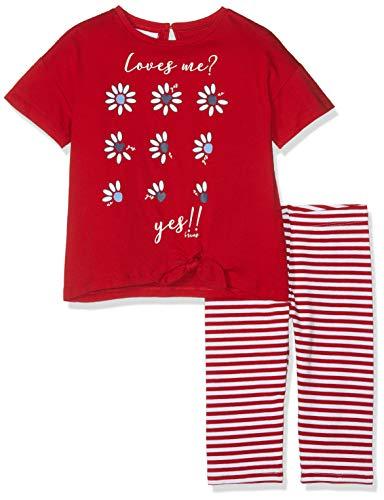Brums Completo 2 Pezzi: T-Shirt Jersey+Pescatore Completino, Multicolore (Bianco/Rosso 01 915), 128 (Taglia Produttore:8A) (Pacco da 2) Bambina