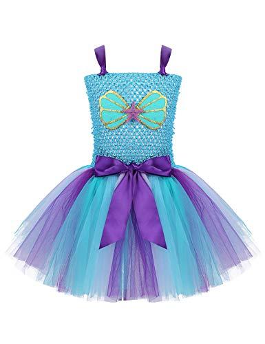 Freebily Vestito Sirena Elegante con/Senza Cerchietto Sirenetta Costume Bambina Carnevale Veneziano Costumi Ballerina Abito Cerimonia da Principessa Mermaid Cosplay Cielo Blu 6-7 Anni