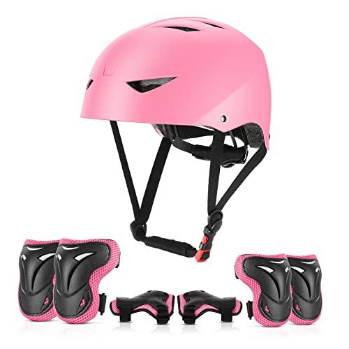 ValueTalks Kinderhelm Skateboard Helm mit Schützer inliner Schonerset Kinder Protektoren Helm für inliner Skateboard Fahrrad Rollschuh 54-58cm Kopfumfang (Rosa)