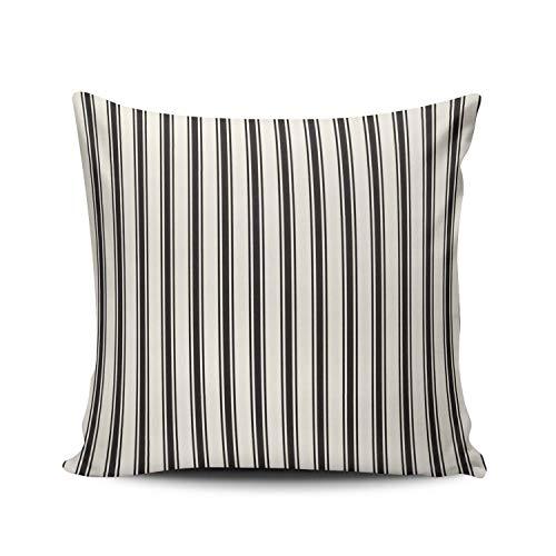 SUN DANCE Funda de almohada para dormitorio, decoración clásica, diseño de rayas, color negro y crema, funda de almohada de doble cara, estampado europeo, 66 x 66 cm