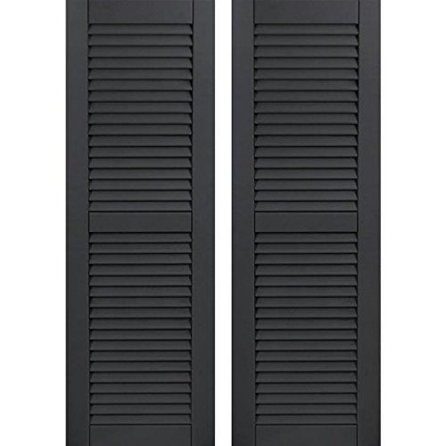 "Ekena Millwork CWL18X075BLC Exterior Composite Louvered Shutters (Per Pair) 18""W x 75""H Black 1 Pair"