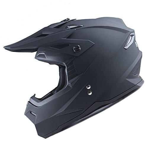 1Storm Adult Motocross Helmet BMX MX ATV Dirt Bike Helmet Racing Style HF801; Matt Black
