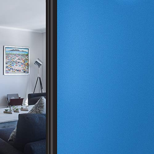 HIDBEA Frosted Window Privacy Film Non-Adhesive, Reusable UV Protection Window Glass Films Colorful Self Static Cling Window Stickers for Home Bathroom Living Room (Blue, 17.5 Inch x 6.5 Feet)