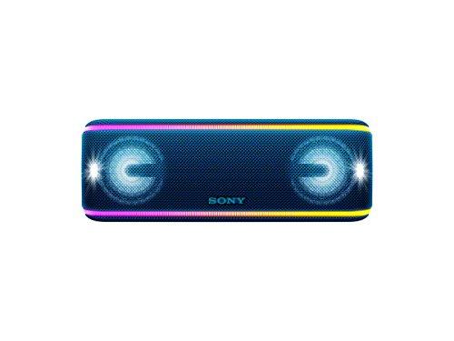 Sony SRS-XB41 kabelloser Bluetooth Lautsprecher (tragbar, mehrfarbige Lichtleiste, Lautsprecherbeleuchtung, Stroboskoplicht, NFC, kompatibel mit Party Chain, Freisprechfunktion für Anrufe) blau
