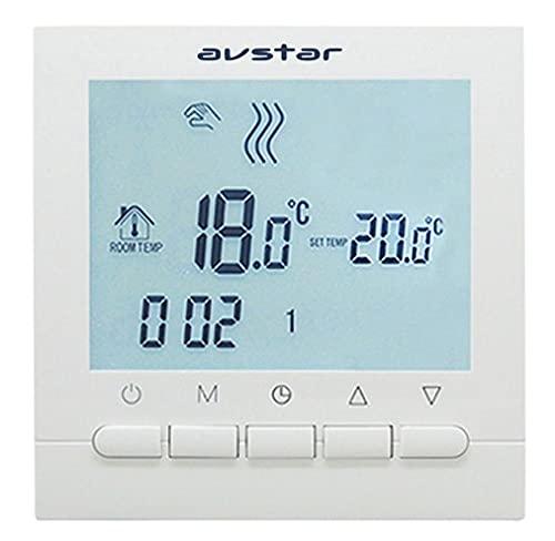 AVStar - Termostato inteligente programable para calefacción de calderas de gas - Pantalla LCD para facilidad de control y programación (Blanco)