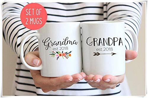 Grootouders Mokken, Cadeau voor Nieuwe Grootouders, Oma en Opa Mokken, Zwangerschap Openbaring Mokken - 11Oz Keramische Koffie Mok Thee Beker, Hoog Glans, Set van 2