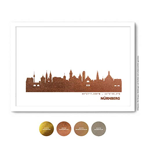 Nürnberg Skyline Bild Wandeko, Personalisierte Geschenkidee für Besondere Anlässe in S/W Rose Gold Silber Kupfer - Pesönlicher Text & Rahmen A4/A3