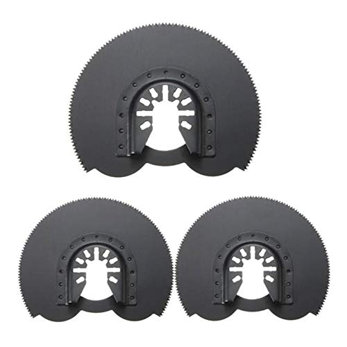 QAZWSX Conveniente Hojas de Sierra Circular, 3 88 mm Hojas de Sierra de Descarga semicircular, Accesorios Multi-Herramienta oscilante, Herramienta de Swing Herramientas para el hogar (Color : Black)