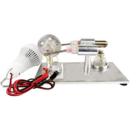 FHISD Modelo de Motor de Vapor Motor Stirling Motor de Equilibrio Modelo de Motor Calor Vapor Educación Modelo de Bricolaje Útiles Escolares Accesorios (Color: Plata, Tamaño: Talla única)