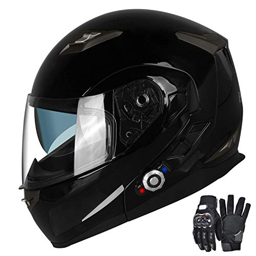 Motorcycle Bluetooth Helmets,FreedConn Flip up Dual Visors Full Face Helmet,Built-in Integrated Intercom Communication System(Range 500M,2-3Riders Pairing,FM radio,Waterproof,L,Gloss Black)