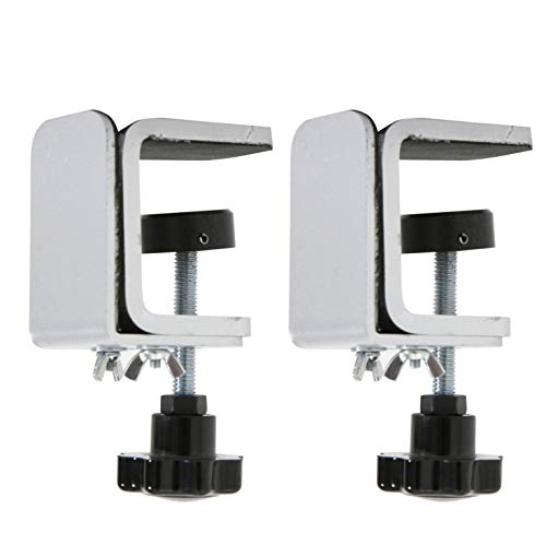 M&T Displays Edge Clamp Kit, C-Clamp for Table Panel Separator, Desktop Mount Holder Stand (2 pack)