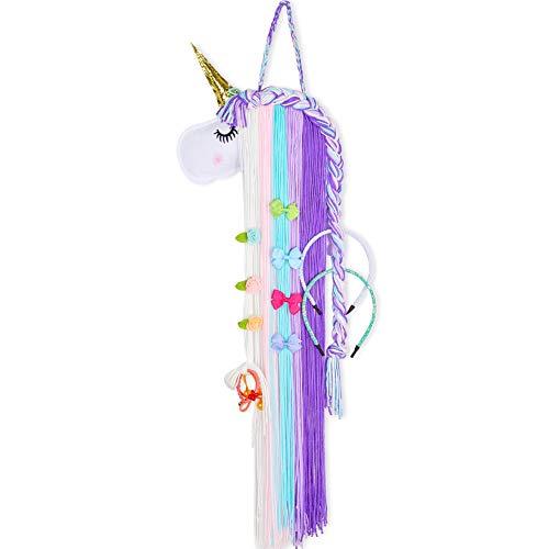 Beinou Unicorn Hair Clips Holder Rainbow Yarn Tassels Hair Bows Storage Shy Unicorn Face Headband Organizer Unicorn Theme Party Decorations