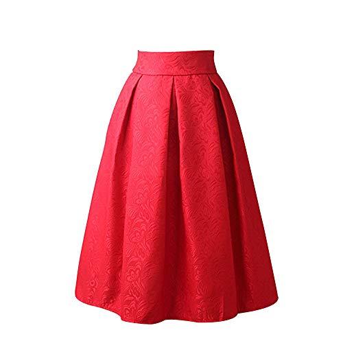 Mujer Midi Falda Corto Cintura Alta Elástica Plisada