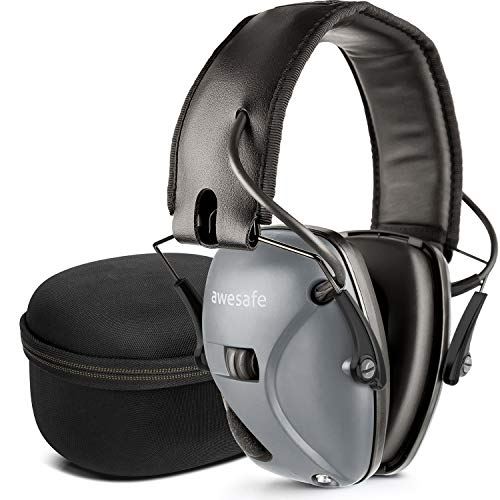 awesafe Electronic Shooting Earmuff, Noise Reduction Sound Amplification Electronic Safety Ear Muffs with Storage Case, Grey