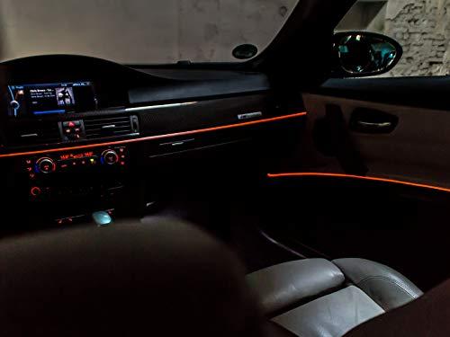 LETRONIX LED Ambientebeleuchtung passend für E39 E46 E60 E61 E63 E64 E81 E82 E85 E86 E87 E88 E90 E91 E92 E93 Z4 *LED Serie* 12V Orange (Armaturenbrett + 4 Türen)