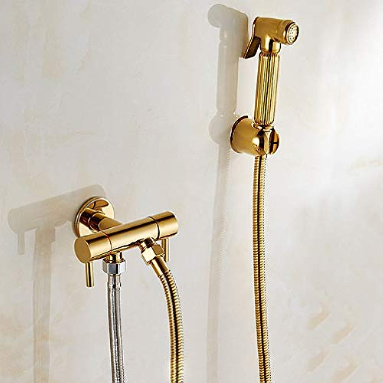 FZHLR Toilette Bidet Gold Kupfer Einzelne Kaltes Badezimmer Wc Dusche Schlag-Fed Sprühpistolendüse Bidet Hahn-Badezimmer-Hardware