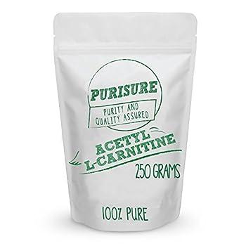 Purisure Acetyl L-Carnitine  ALCAR  Powder 250g  500 Servings  Pure Acetyl L-Carnitine Powder Cognitive Enhancer Sharper Memory Mood Booster Energy Metabolism Muscular Endurance