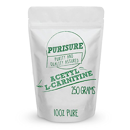 Purisure Acetyl L-Carnitine (ALCAR) Powder 250g (500 Servings), Pure Acetyl L-Carnitine Powder, Cognitive Enhancer, Sharper Memory, Mood Booster, Energy Metabolism, Muscular Endurance