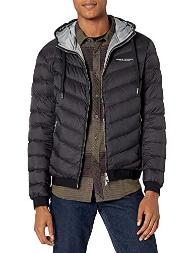 Armani Exchange Hooded Quilted Down Milano/New York Logo Zip-up Jacket Chaqueta, Black Melange Grey B, S para Hombre
