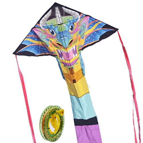 Drachen Polyester-Tuch Digital Printing Groß kreatives Dreieck Chinesischer Drache-Kopf Long Tail Erwachsene Kinder Kite 300 Meter Chinesischer Drache mit blauem Rad 300 Meter-Linie Tierdrachen