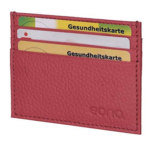 Eono by Amazon - Tarjetero de Cuero con Compartimento para Billetes para Mujer y Hombre con diseño Plano y protección contra Lectura RFID (Rosa)