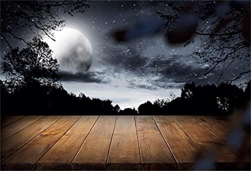 Dashan Cemitério sombrio de 2,4 m x 1,8 m de poliéster para dia das bruxas, lua horrível, cemitério sombrio, cemitério da floresta, fundo de fotografia para festa de crianças, Halloween, decoração de foto, estandarte