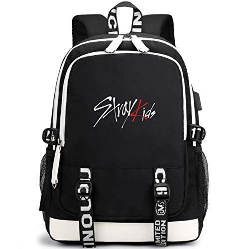 Kpop Stray Kids Rucksack Student Daypack Schultasche Geschenkwaren Laptoptasche College School Bookbag Reise Schule Oxford Bags Mit USB-Ladeanschluss Bang Chan Hyunjin Felix Minho Woojin