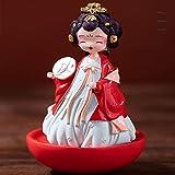 Muñecas de Seda de la ópera de Pekín en la dinastía Tang Never Sleep City Tumbler Sister Xi'an Recuerdo Hecho a Mano de para niños Regalo de cumpleaños de Halloween de Navidad 4.5in,Rojo