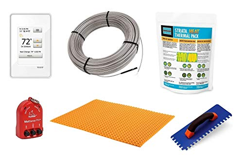 Schluter Ditra Signature Floor Heating Kit -16 Square Feet- Includes Touchscreen Programmable Thermostat, Heat Membrane, Heat Cable DHEHK12016, Safe Installation Tools, Heat Enhancing Additive