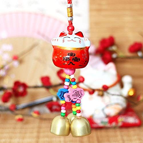 Maneki Neko - Colgante de Campana Feng Shui con Porcelana Japonesa para Gatos, Amuleto de la Suerte Tradicional (Rojo)
