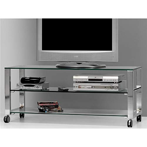 Mesa de Televisión Cristal con Patas cromadas Aremi 125 cm