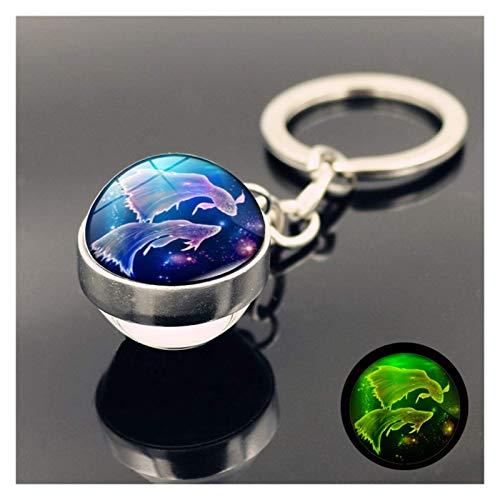 FSJIANGYUE Keychain Constellation Luminous Keychain Glass Ball Pendant Zodiac Keychain Glow In The Dark Key Chain Holder Men Women Birthday Gift (Color : Leo) (Color : Pisces)