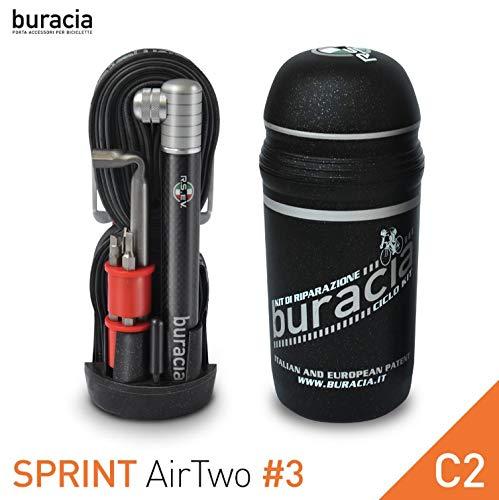 buracia , kompaktes Pannenset Sprint AirOne Serie # 3. Taschenwerkstatt, Fahrradreparaturen, Ersatzteile. Rennrad Kompatibel mit Allen Flaschenhaltern.Made in Italy. (C2)